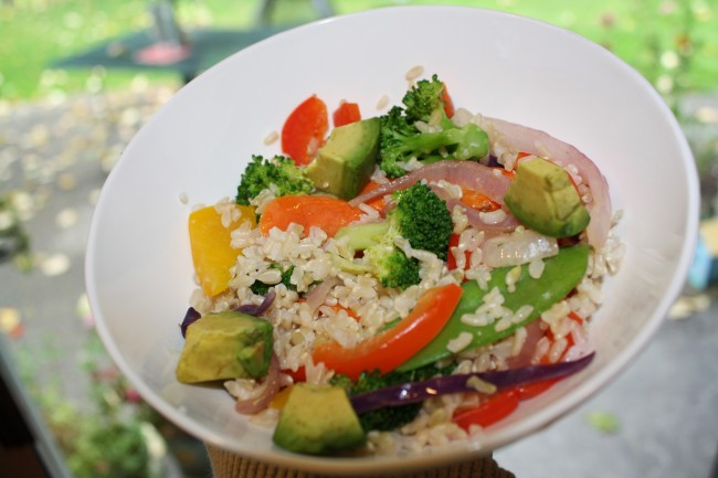 Rice & Steamed Veggies with Avocado